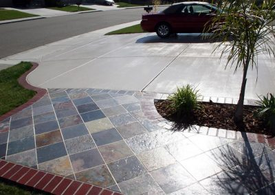 Slate walkway and concrete driveway