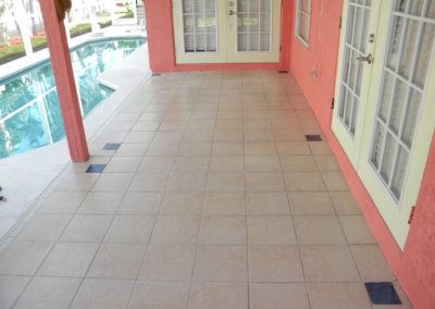 Ceramic tile pool deck